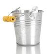 empty metal bucket isolated on white