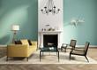 Green interior fireplace modern atmospheric lounge living room