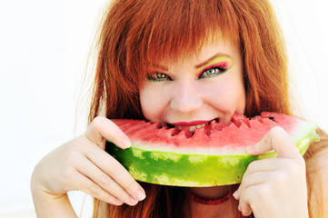 ginger girl with watermelon