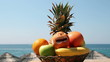 Exotic Fruits Against Tropical Beach