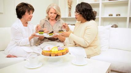 Retired Girlfriends Enjoying Tea Cakes and Gossip