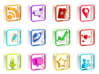 Mobile app icon application emblems isolated