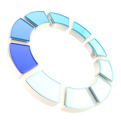 Round circle frame made of ten segments isolated