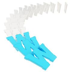 World wide web www symbols fallen down like domino