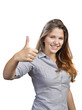 Portrait of attractive young woman showing a thumbs up on white