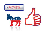 hand with thumb up and symbols of the Democrats and text Vote