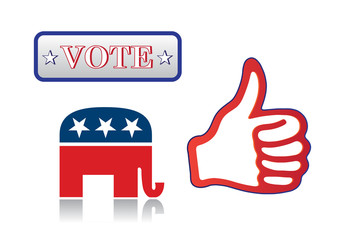 hand with thumb up and symbols of the Republicans and text Vote