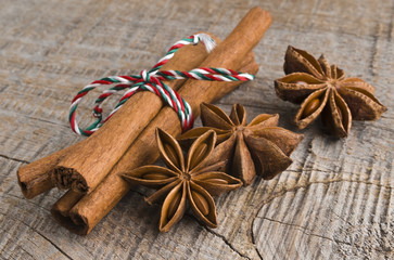 Star anise with cinnamon at christmas time (selective focus)