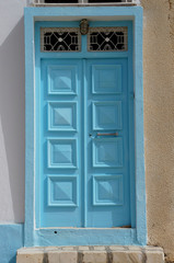 Blue door in the traditional tunisian architecture