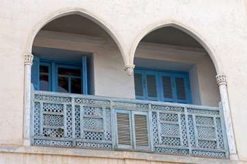 Typical arched balcony in the traditional tunisian architecture