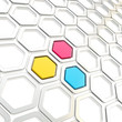 Glossy hexagon segments as abstract background