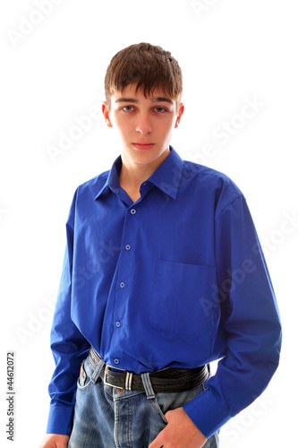 teenager on light background
