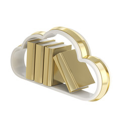 Book cloud shaped shelf icon emblem isolated