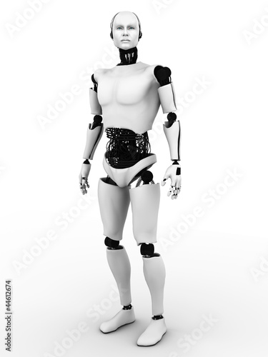 Male robot standing.