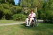 Frau im Rollstuhl liest Buch