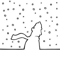 Man walking through snowy weather.
