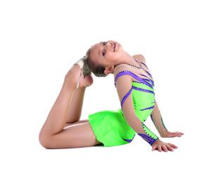 kid gymnast - show stretch and flexibility