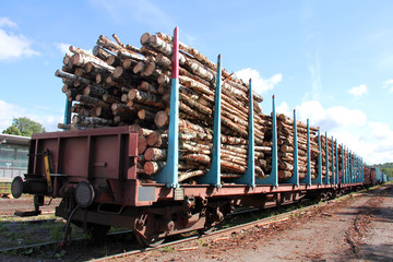 Transporting Wood on a Train