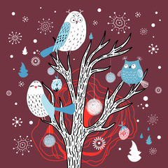 Winter card with owls on the tree