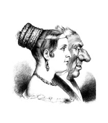 Pair - Caricature - 19th century