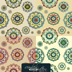 Seamless vintage pattern set