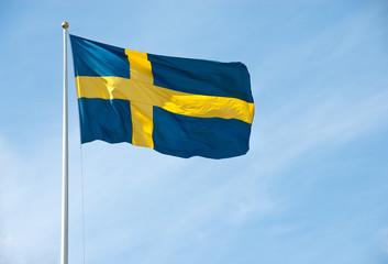 Flag of Sweden in the blue sky