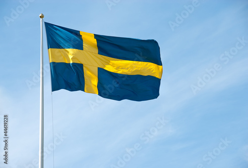Flag of Sweden in the blue sky