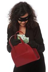 femme volant sac à main