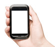 Hand holding mobile smart phone with blank stsreen