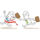 Geschäftsleute, Wettrennen, Vorsprung, Sieger