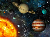 Fototapety Realistic Solar System display contains the Sun and nine planets