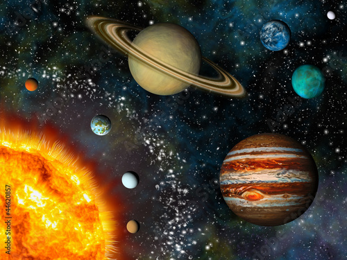 Fototapeta Realistic Solar System display contains the Sun and nine planets