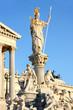 The Austrian Parliament and Athena Fountain in Vienna, Austria