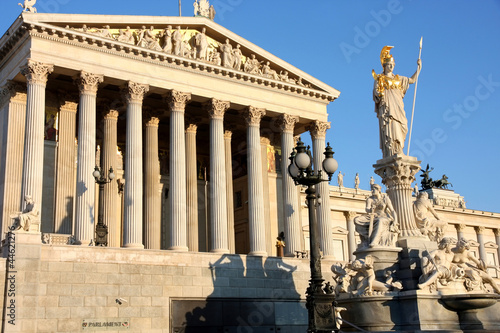 The Austrian Parliament and Athena Fountain in Vienna, Austria