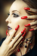 fashion make up and long red nails
