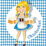 Pretty Blond with a glass of beer celebrating Oktoberfest