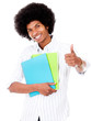 Black student with thumbs up