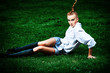 model on grass