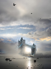 Tower Bridge with fog in London, England
