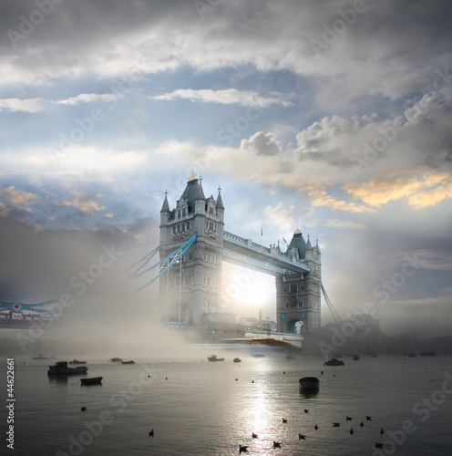 Sticker Tower Bridge with fog in London, England
