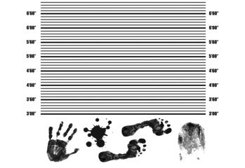 Police Lineup with fingerprint, handprint,footprint and splatter