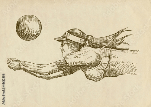 volleyball player - drawing
