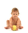 Cute baby with apple isolated on white