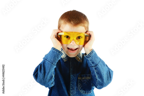The boy with goggles isolated on a white background