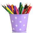 Colorful pencils and felt-tip pens in purple pail isolated