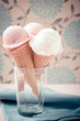 Ice cream cones in cup graded in vintage tone