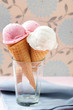 Strawberry and vanilla Ice cream on sugar cones