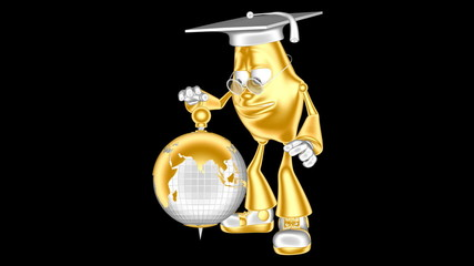 Loop movie. Golden 3D character mr. Multic rotates the globe