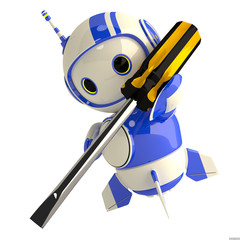 Cute Blue Robot with Screwdriver