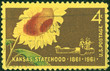 stamp printed in the USA shows Kansas Statehood